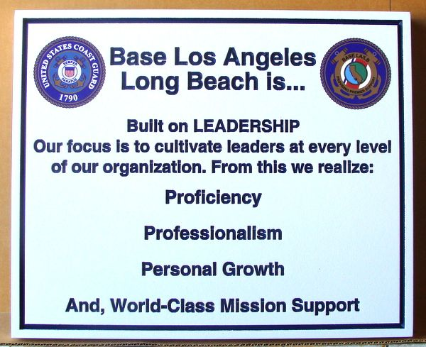 V31986 – Carved 2-5 D Leadership Wall Plaque for the US  Coast Guard  Base at Los Angeles/Long Beach in California.