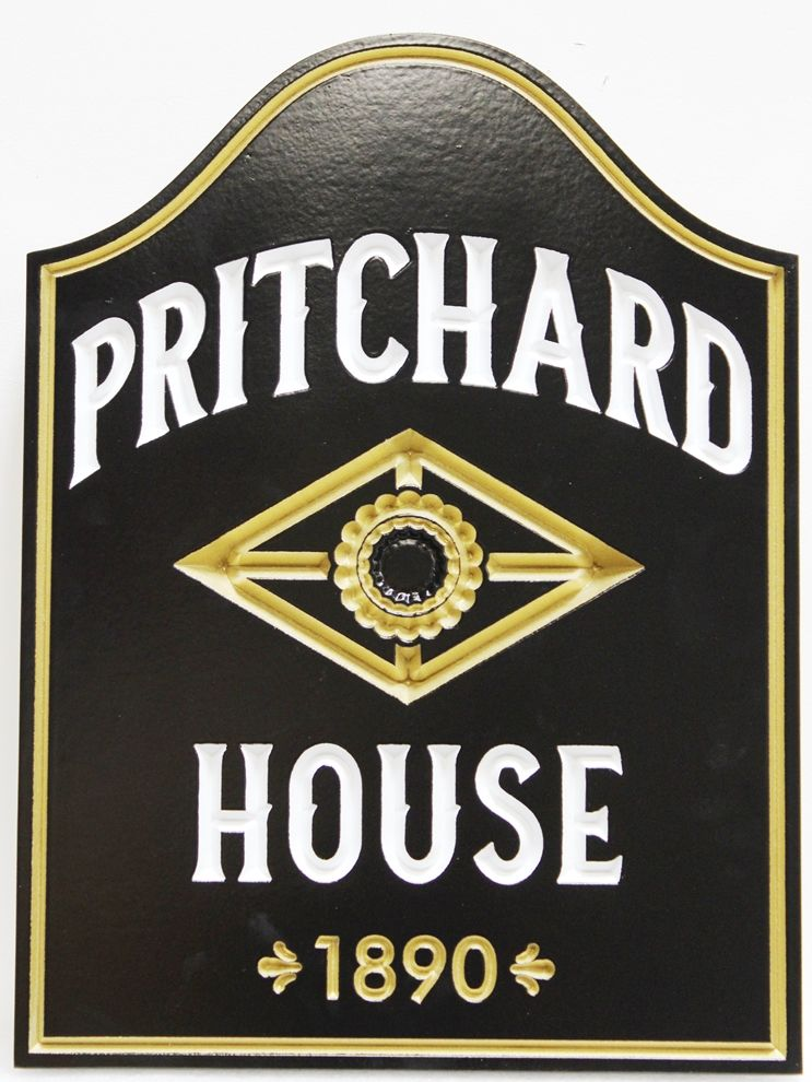 F15951 - Engraved Outside  Sign  for the  Historical Pritchard House, with 24K Gold Leaf Gilding