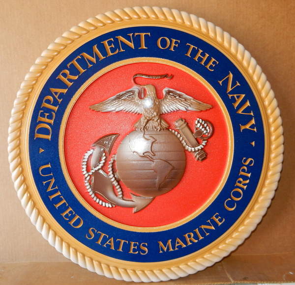 KP-1040 -  Carved Plaque of the Great Seal  of the US Marine Corps, 3-D Artist Painted