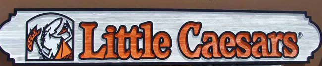 Q25218 - Carved Wood Little Caesars Pizzaria Sign
