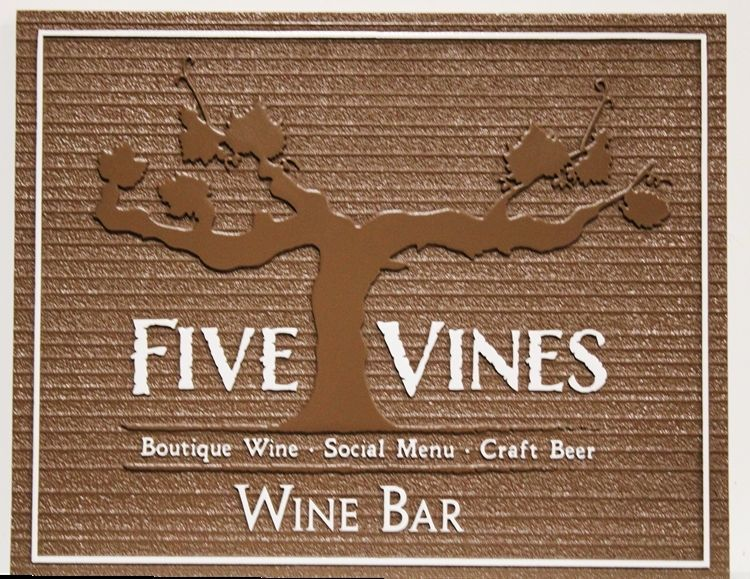 R27039 - Carved 2.5-D and Sandblasted Wood Grain HDU Sign for the Five Vines Wine Bar