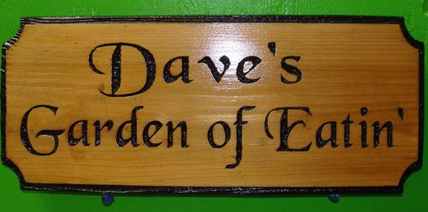 """N23602 - Engraved Cedar Wood Plaque, """"Dave's Garden of Eatin' """""""