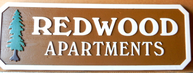 K20172 - Carved Redwood  Sign for Redwood Apartments, Carved Redwood Tree