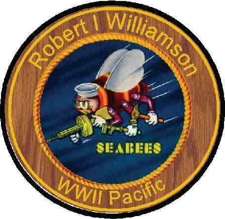 JP-2280 - Carved  Plaque of Seabees Logo, Personalized, R I Williamson, WW II,  Artist Painted on Cedar Wood