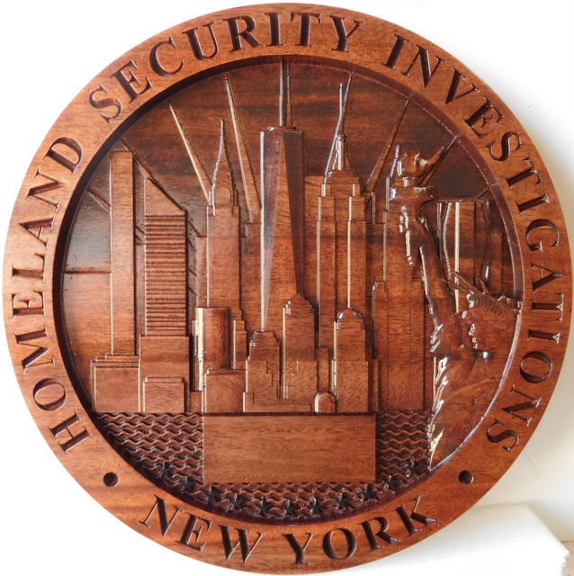 PP-3312 - Carved Plaque of the Seal of Homeland Security Investigations, New York City, 3-D Mahogany