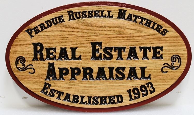 """M3932 -  Red Oak Plaque for """"Real Estate Appraisal""""  with Old-Style Engraved Text (Gallery 28A)."""