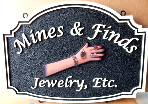 "SA28047 - Sign for ""Mines and Finds Jewelry, Inc."" with a 3D Image of a Woman's Hand/Arm  with Rings, Necklace and Bracelet"