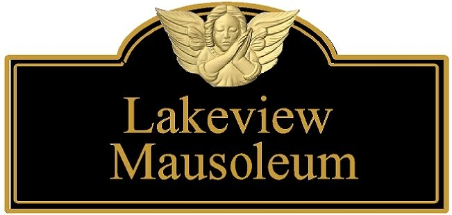 GC16250-  HDU Lakeview Mausoleum Building Identification Sign, with 3D Carved 24K Gold Leaf Gilded Cherub