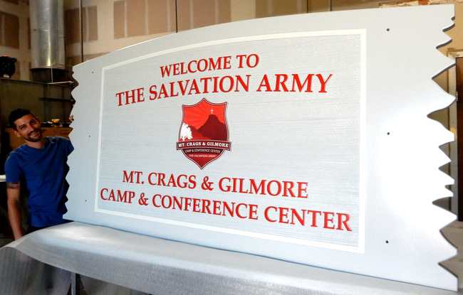 G16330 -  Sign for The Salvation Army Camp and Conference Center with Image of Mt. Crags and Gilmore