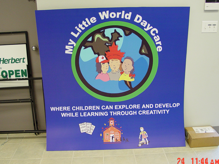 My Little World Daycare Storefront Sign