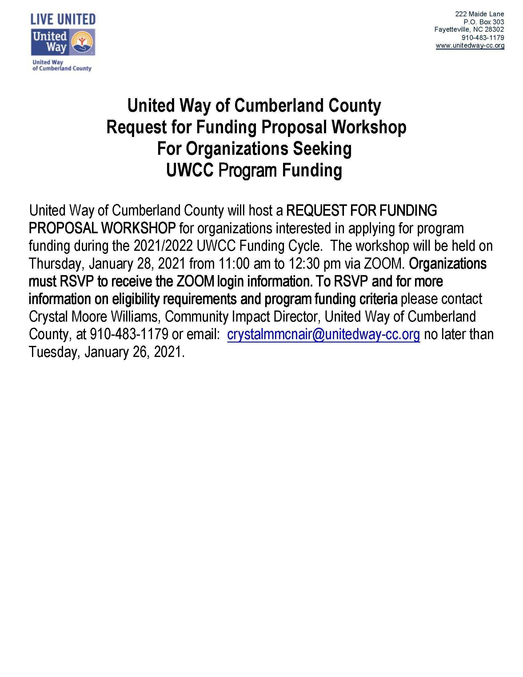 Request for Funding Proposal Workshop
