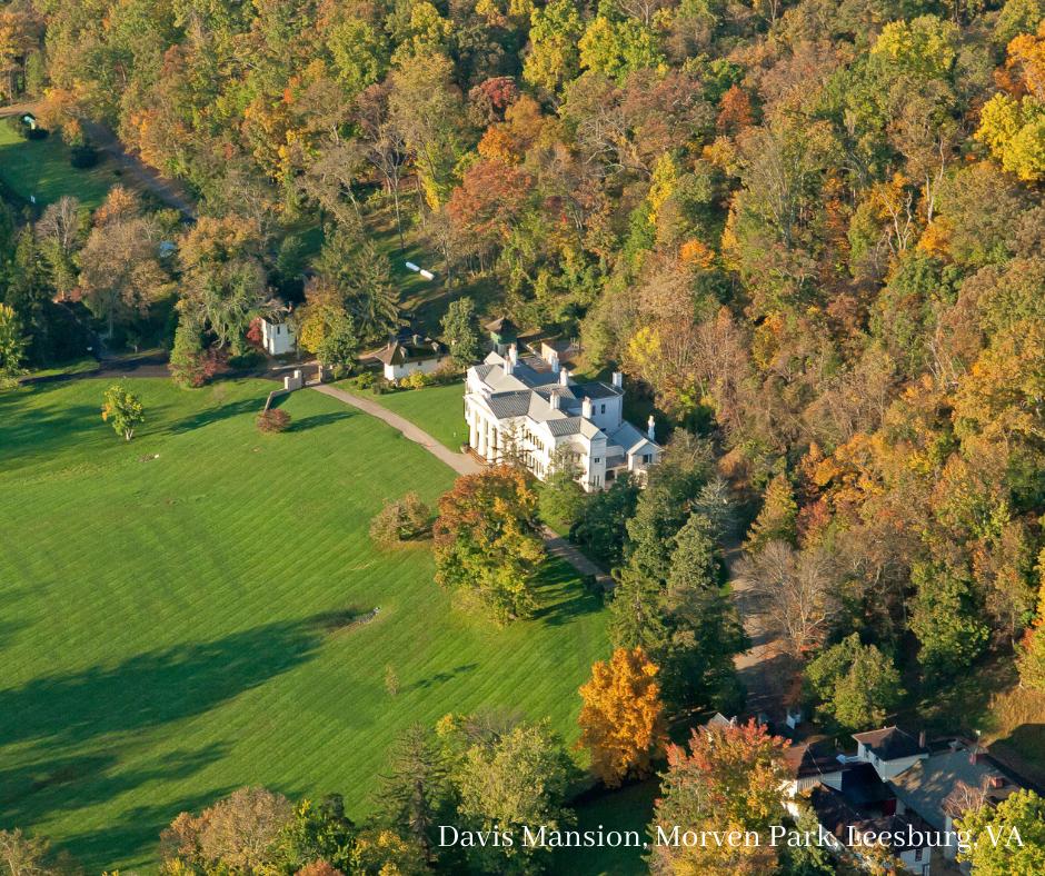 The Davis Mansion (from above) at Morven Park in Leesburg. VA.