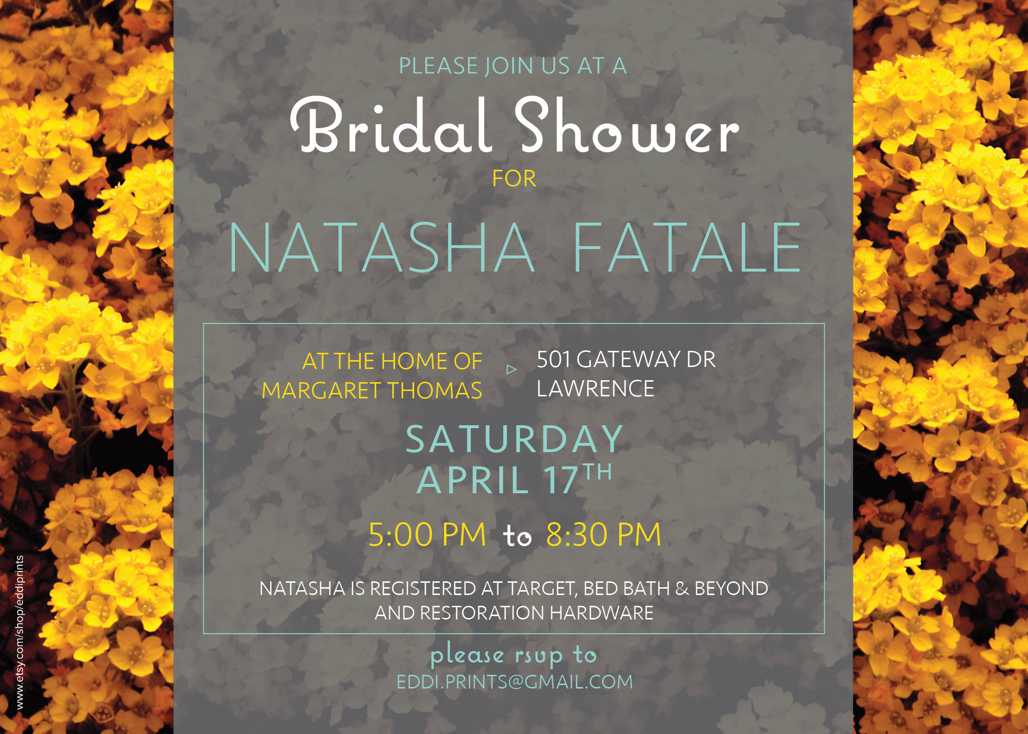 Bridal Shower Invite- Yellow Flowers
