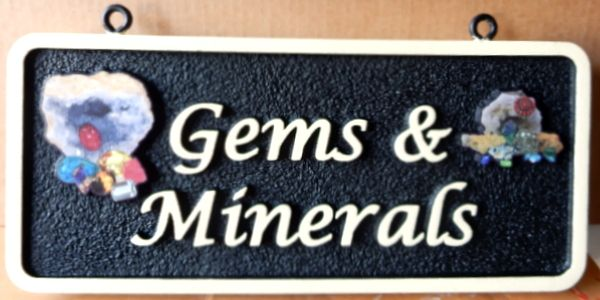 """SA28055 - Sandblasted Sign with  Mineral Rocks and Stones for """"Gems and Minerals"""" Company"""