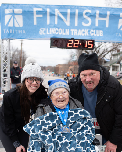 Tabitha Miles for Meals finisher Clarence Osborne