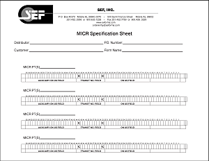 MICR Specification Sheet