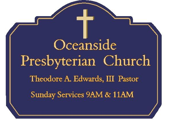 D13120 - Carved Wood Sign for Presbyterian Church Giving Name of Pastor and Hours of Services with Carved Cross