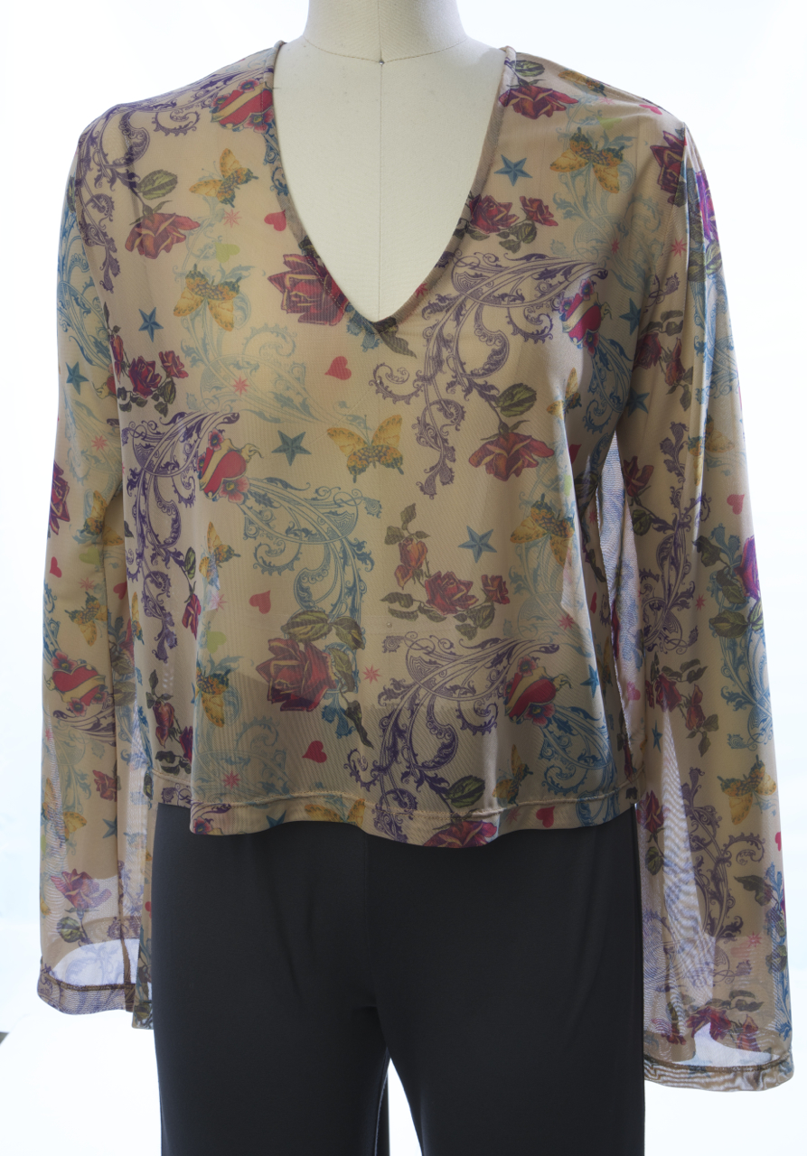 Mesh Bell Sleeve Top in Floral Print