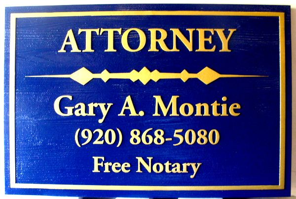 A10340 -  Cedar Wood Attorney and Notary Sign