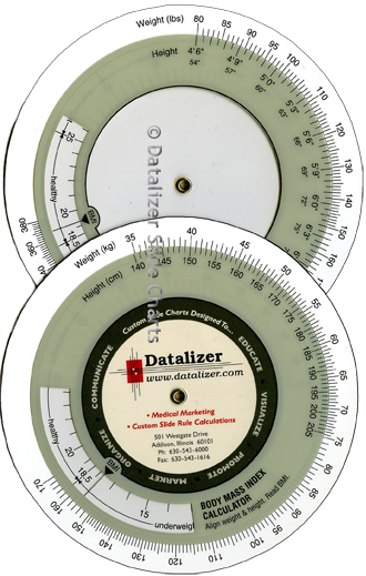 4-1/2 Inch Plastic Body Mass Index Calculator: English or Metric