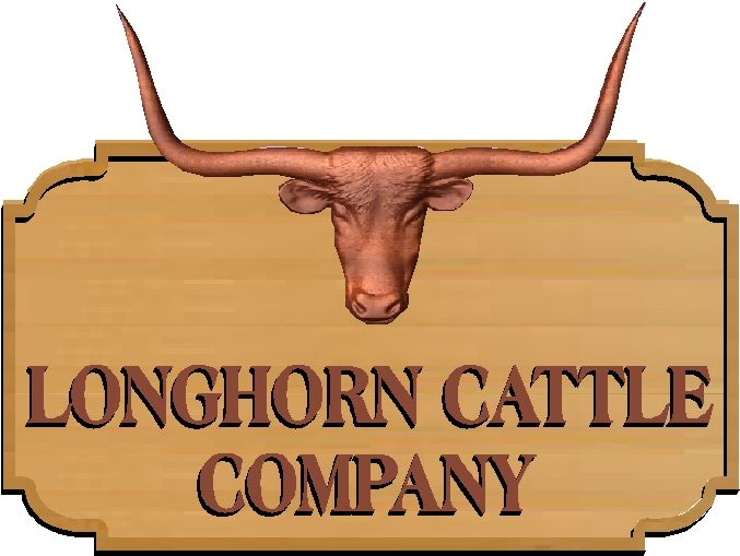O24126 -3-D  Longhorn Cattle Sign Texas