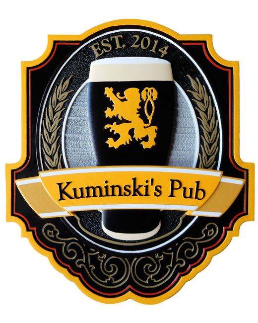 RB27529 - Large Carved 3-D Pub Sign with Beer
