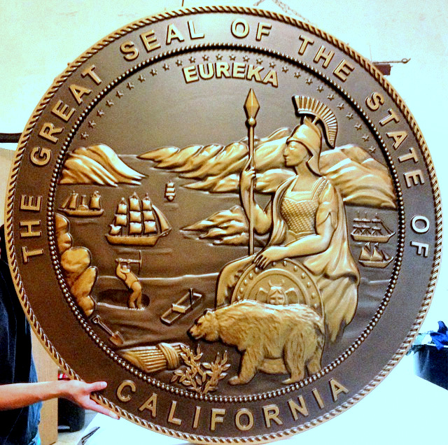 M7513 - Large Bronze Plaque of the Seal of the State of California