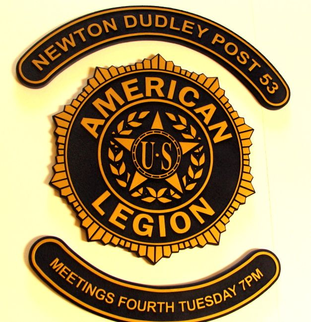 UP-1040 -- Carved Wall Plaque of the Badge of the  American Legion, Artist Painted