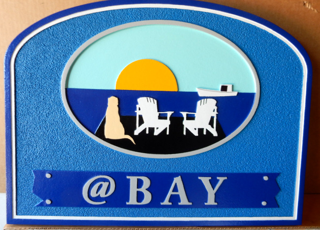 L21030 - Carved 2.5-D Beach House Sign with Two Chairs ,a Dog, a Boat, and a Bay Sunset