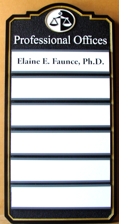 A10587 –Multiple Attorney Directory Sign, with Changeable Names