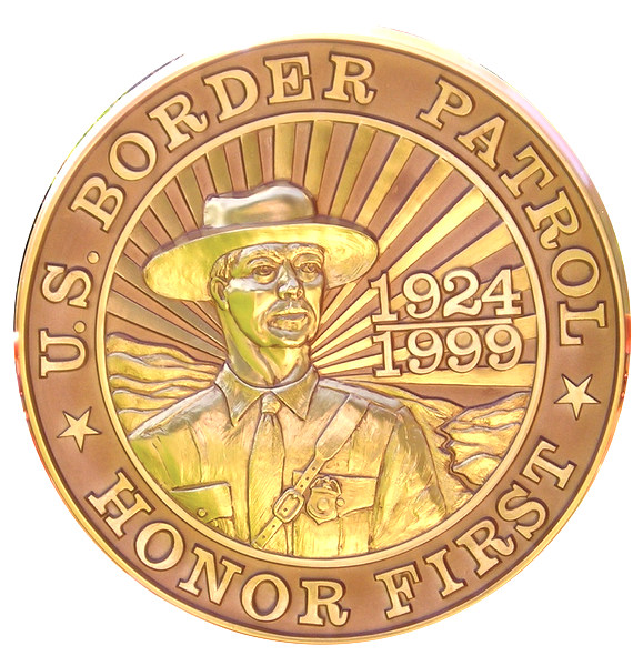 "U30336 - Carved HDU Wall Plaque ""Honor First""  for US Border Patrol"
