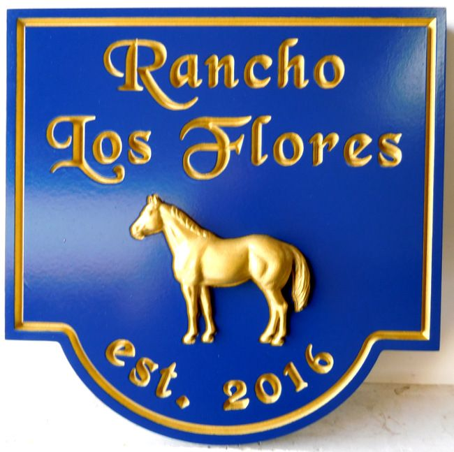 P25022 - Equine Ranch Equestrian  Sign, with Carved Text  in Spanish and 3-D Horse (Gold-Leaf Gilded)