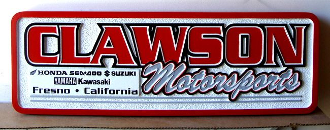 """S28067 - Carved Sign for """"Clawson Motorsports""""  Retail Store and Motorcycle Dealer"""