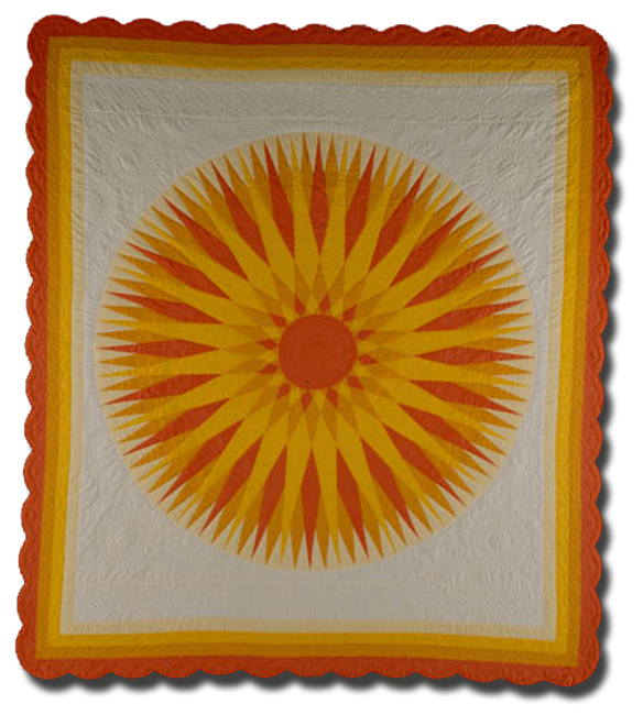 Glory of the Rising Sun, made by Floy Elizabeth Lyle Buell, made in Lincoln, Nebraska, United States, dated 1984, 105 x 91 in, NQP 2676