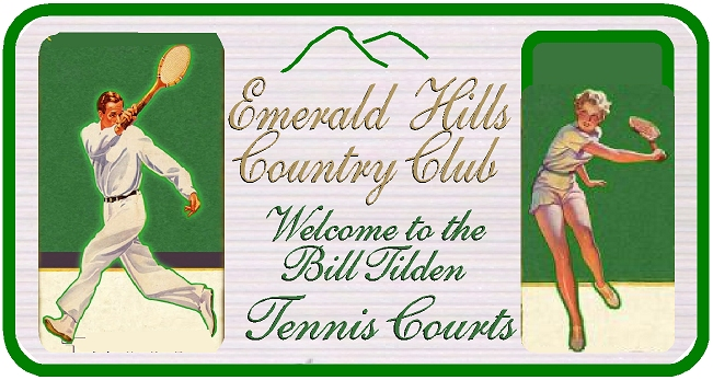 GB16842 - Carved HDU  Bill Tilden Tennis Court  Entrance Sign for the Emerald Hills Country Club