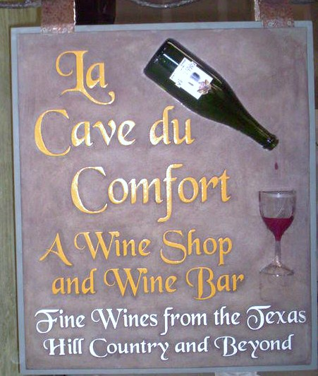 R27080 - Hanging Wine Shop and Bar Sign, with Wine Bottle and Glass, for La Cave du Comfort