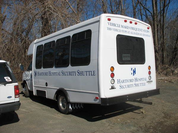 Fleet Graphics, Small Shuttle Bus, Lettering & Logo Graphics