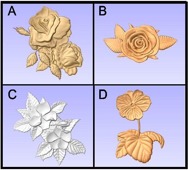 GA16738 - Carved 3-D Roses, Dogwood and African Violet