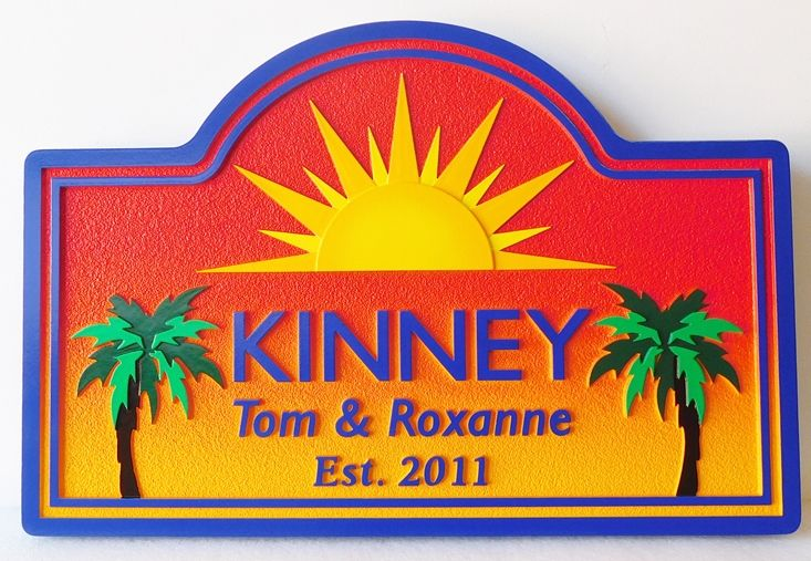 "L21222 - Carved HDU Properrty Name Sign ""Kinney"",  with Palm Trees  and Sunset Scene"