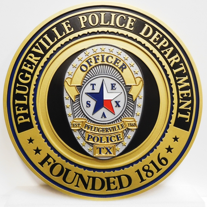 PP-1542- Carved Seal of the Phlugerville, Texas  Police Department,  2.5-D Artist-Painted
