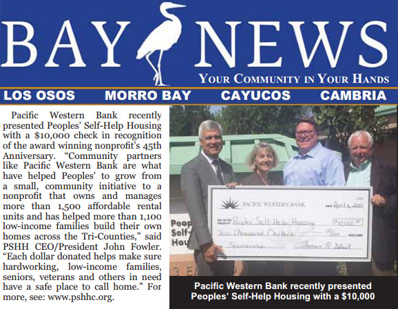 Pacific Western Bank Presents Peoples' Self-Help Housing with $10,000 - Bay News