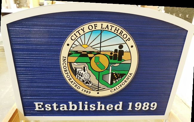 F15350 - Carved and Sandblasted Wood Grain Entrance  Sign for the City of Lathrop, 2.5-D with Engraved City Seal as Artwork