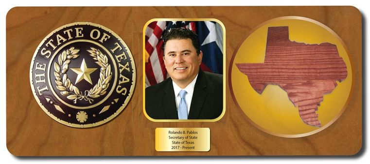 EA-1077 - Mahogany Plaque for a Secretary of State of Texas, Rolando Pablos, with Photo, State Seal and Map of Texas
