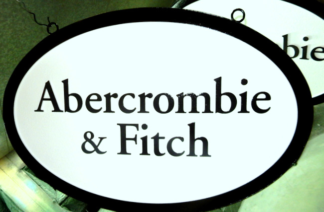 "SA28052 - Smooth, High Density Urethane Sign for Retail Store: ""Abercrombie and Fitch"""