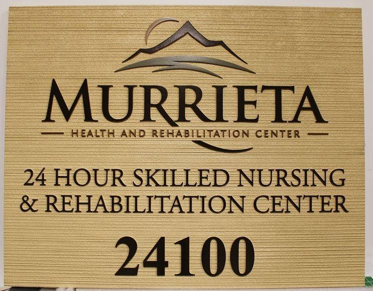 B11146 -  Carved and Sandblasted Wood Grain HDU Sign for the Murrieta Health and Rehabilitation Center