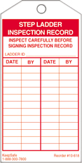 Step Ladder Inspection Record Tag