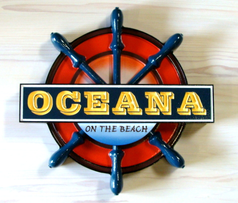 "Q25112 - Carved Wood and HDU Ship's Helm Seafood Restaurant Sign ""Oceana on the Beach"""