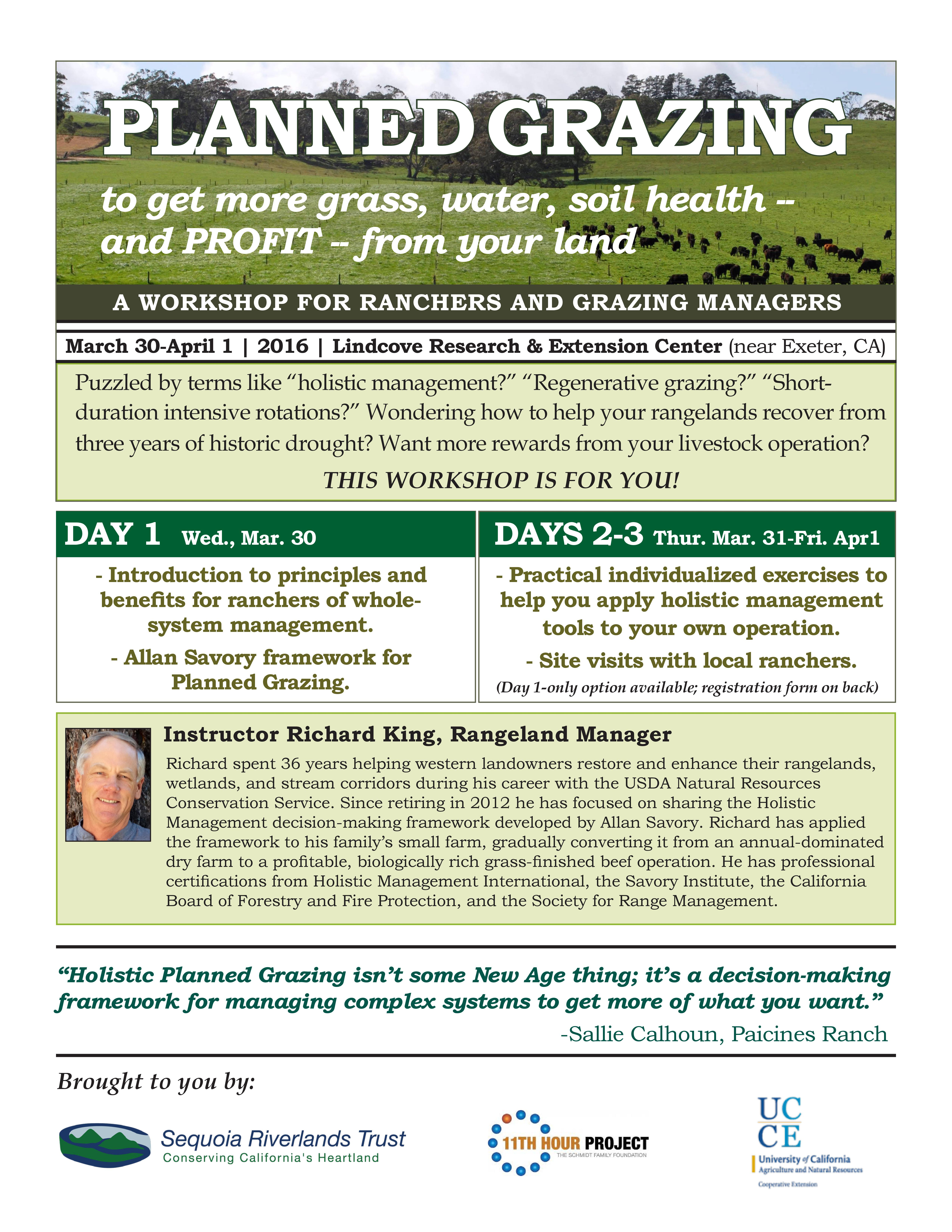Planned Grazing Workshop for Ranchers and Grazing Managers