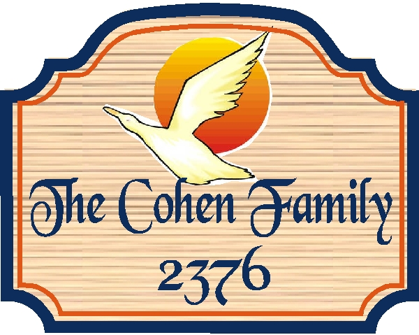 I18517 - Carved 2.5-D Resident Name and Address Sign, with Canadian Goose in Flight, Setting Sun, and Sandblasted Wood Grain Background
