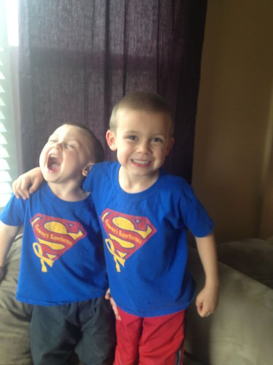 Well, if these cute Clark boys don't want to make you buy a t-shirt and support childhood cancer research, I don't know what does?! ;) Thank you Grady and Gavin for the cute picture to lift Sammy's spirits. (By the way, Gav is a dinosaur superhero...)  Sa